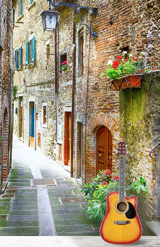 Steden behang - Smal Italiaans straatje - Woonkamer 1
