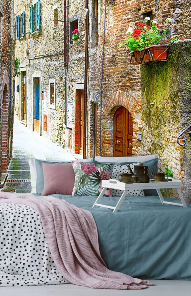 Steden behang - Smal Italiaans straatje - Woonkamer 7