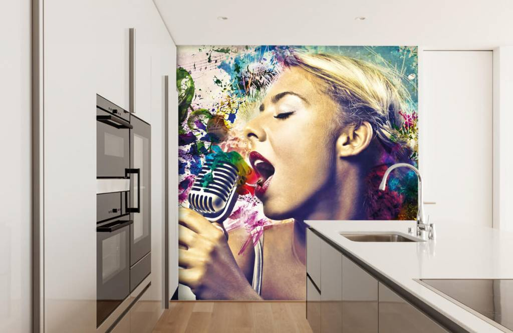 Modern behang - Vintage zangeres - Tienerkamer 1