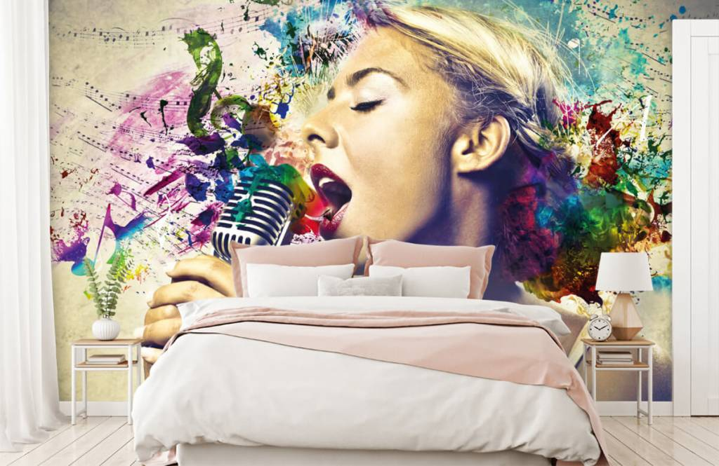 Modern behang - Vintage zangeres - Tienerkamer 2