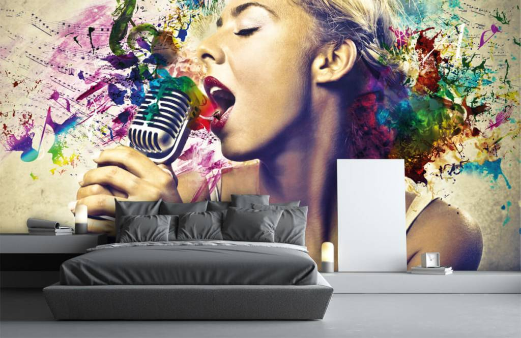 Modern behang - Vintage zangeres - Tienerkamer 3