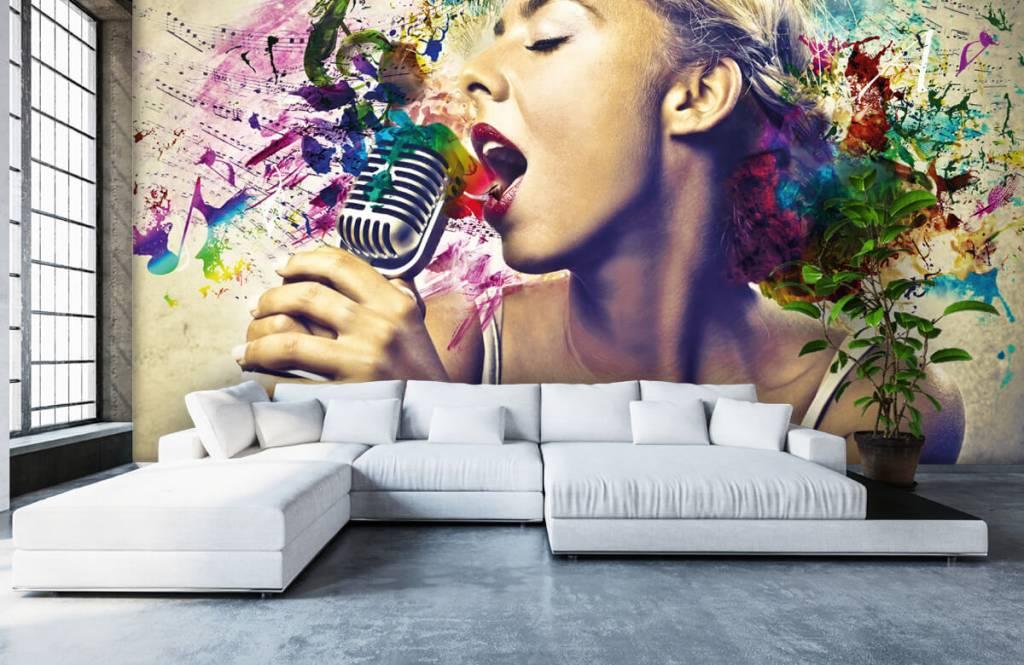 Modern behang - Vintage zangeres - Tienerkamer 5