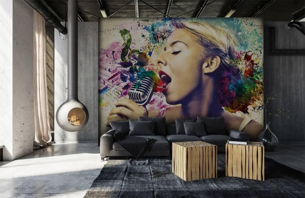 Modern behang - Vintage zangeres - Tienerkamer 6
