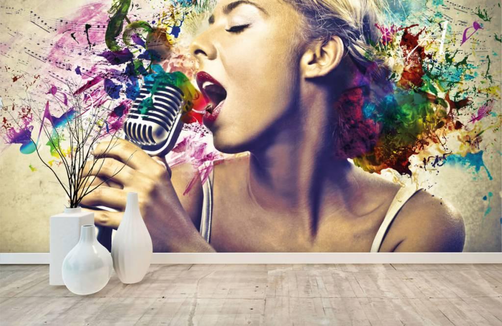 Modern behang - Vintage zangeres - Tienerkamer 8