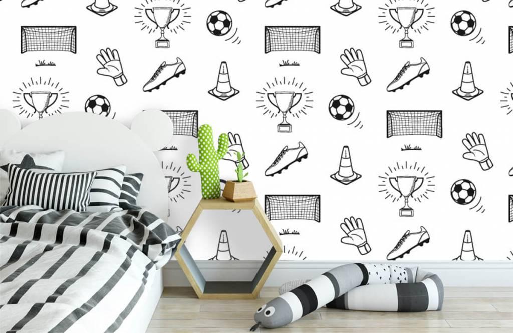 Voetbal behang - Voetbal patroon - Kinderkamer 1