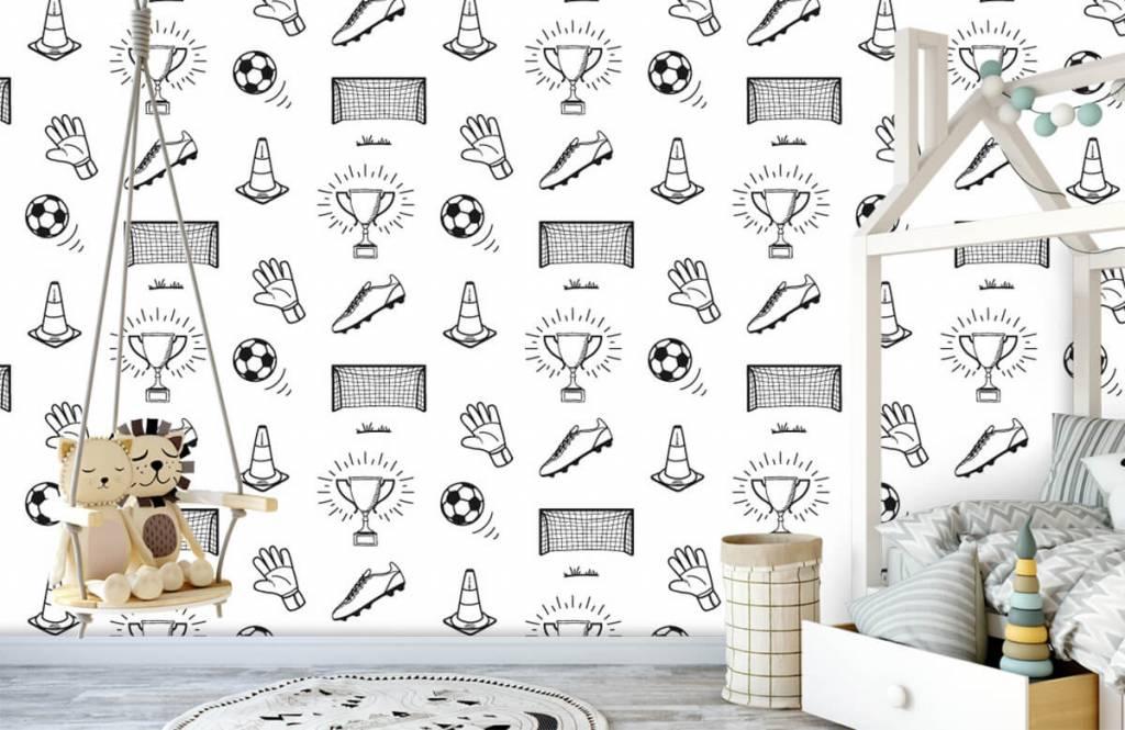 Voetbal behang - Voetbal patroon - Kinderkamer 2