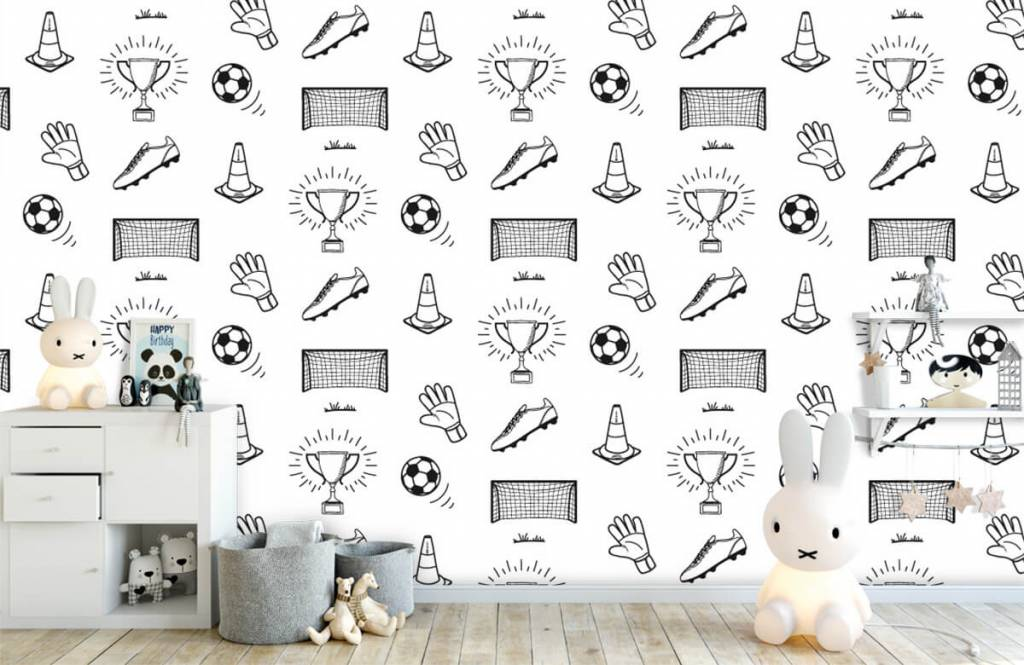 Voetbal behang - Voetbal patroon - Kinderkamer 3