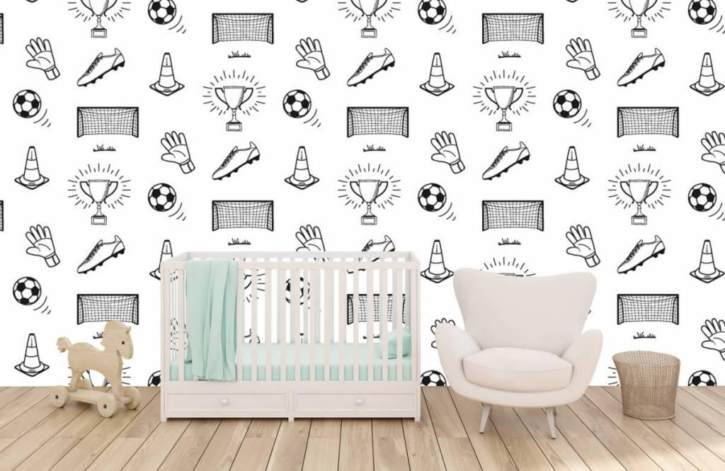 Voetbal behang - Voetbal patroon - Kinderkamer 5