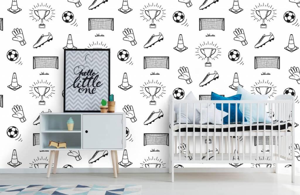 Voetbal behang - Voetbal patroon - Kinderkamer 6