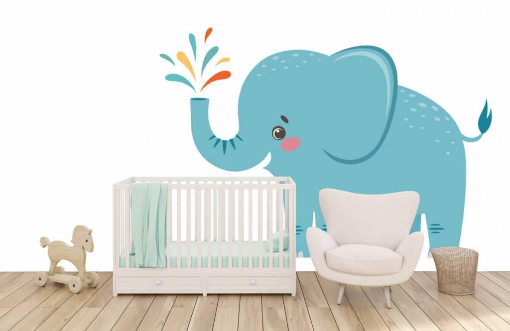 Olifanten - Vrolijke olifant - Babykamer 5