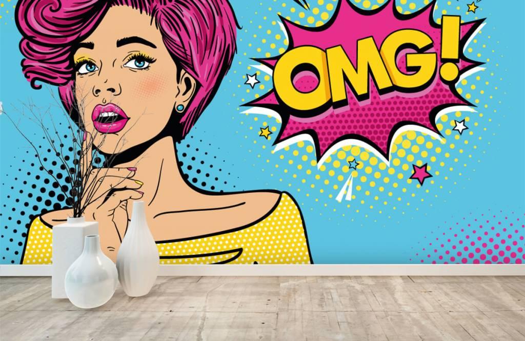 Modern behang - Vrouw in pop art stijl - Tienerkamer 1