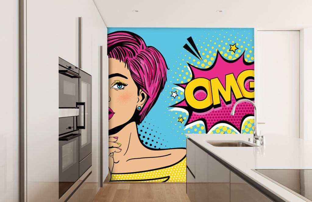 Modern behang - Vrouw in pop art stijl - Tienerkamer 4