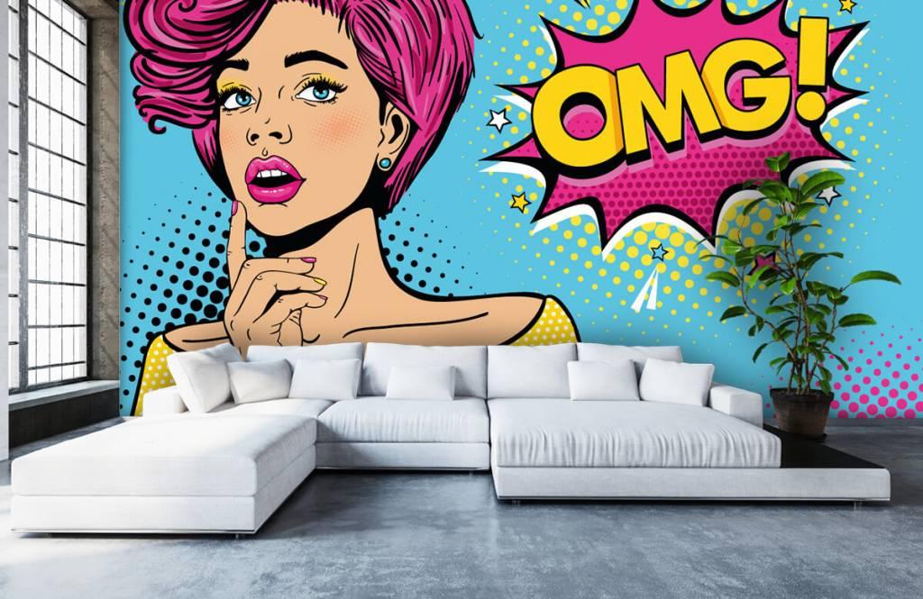 Modern behang - Vrouw in pop art stijl - Tienerkamer 6