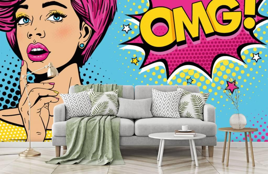 Modern behang - Vrouw in pop art stijl - Tienerkamer 8