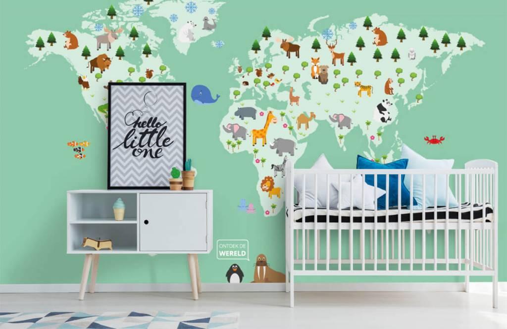 Illustraties - Wereldkaart voor kinderen in groen - Kinderkamer 1
