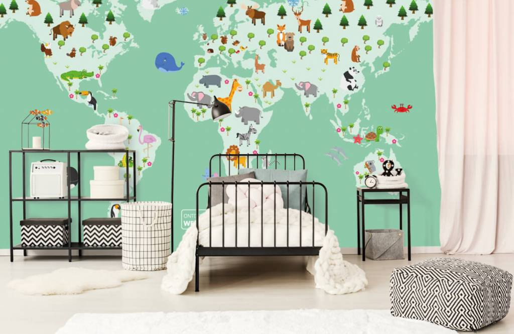 Illustraties - Wereldkaart voor kinderen in groen - Kinderkamer 2