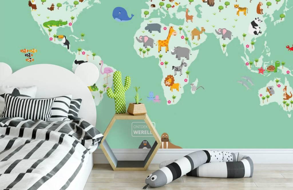 Illustraties - Wereldkaart voor kinderen in groen - Kinderkamer 3