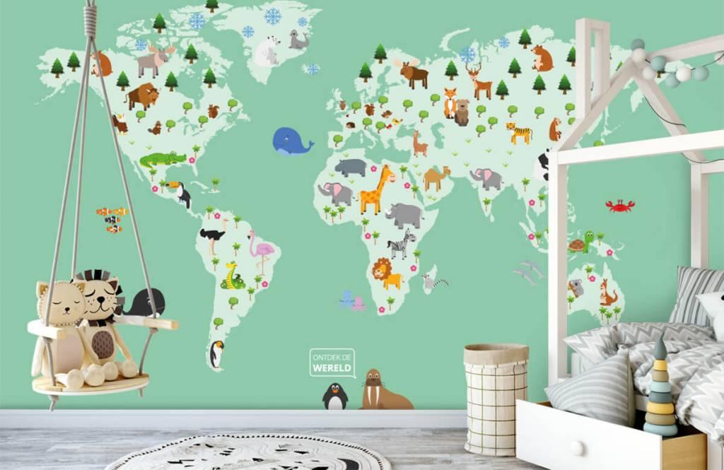 Illustraties - Wereldkaart voor kinderen in groen - Kinderkamer 4