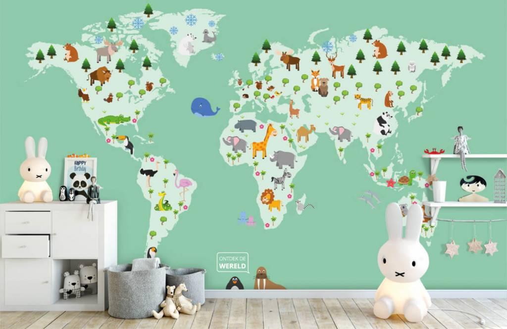 Illustraties - Wereldkaart voor kinderen in groen - Kinderkamer 5