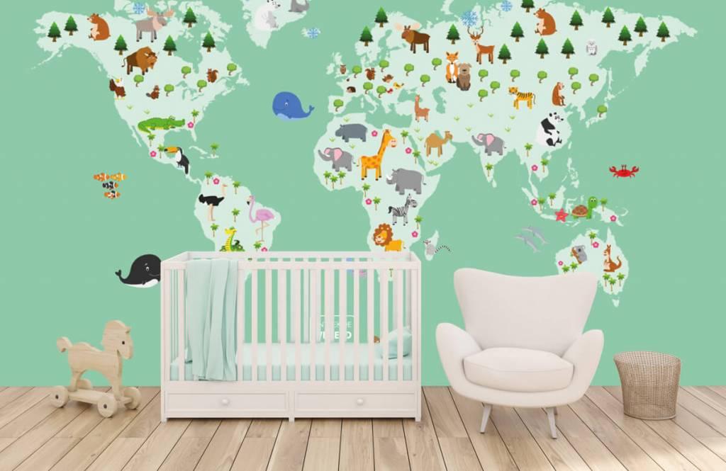 Illustraties - Wereldkaart voor kinderen in groen - Kinderkamer 6