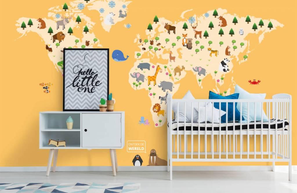 Wereldkaart behang - Wereldkaart voor kinderen met gele achtergrond - Kinderkamer 1