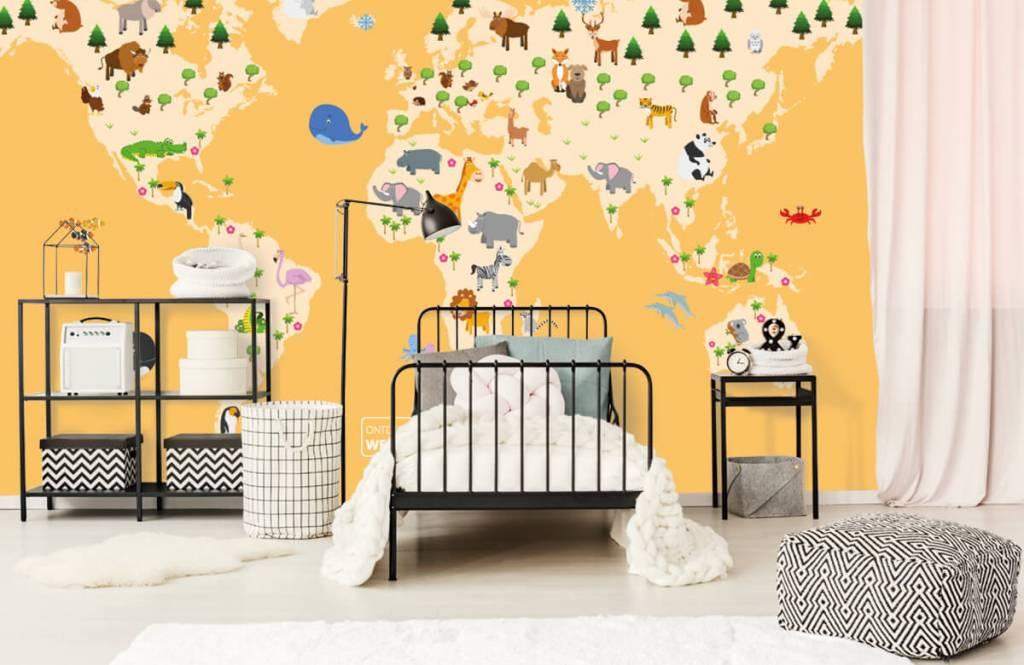 Wereldkaart behang - Wereldkaart voor kinderen met gele achtergrond - Kinderkamer 2
