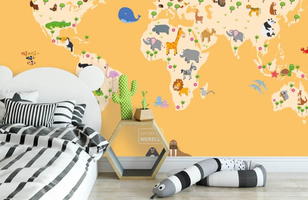 Wereldkaart behang - Wereldkaart voor kinderen met gele achtergrond - Kinderkamer 3