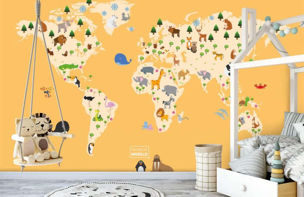 Wereldkaart behang - Wereldkaart voor kinderen met gele achtergrond - Kinderkamer 4