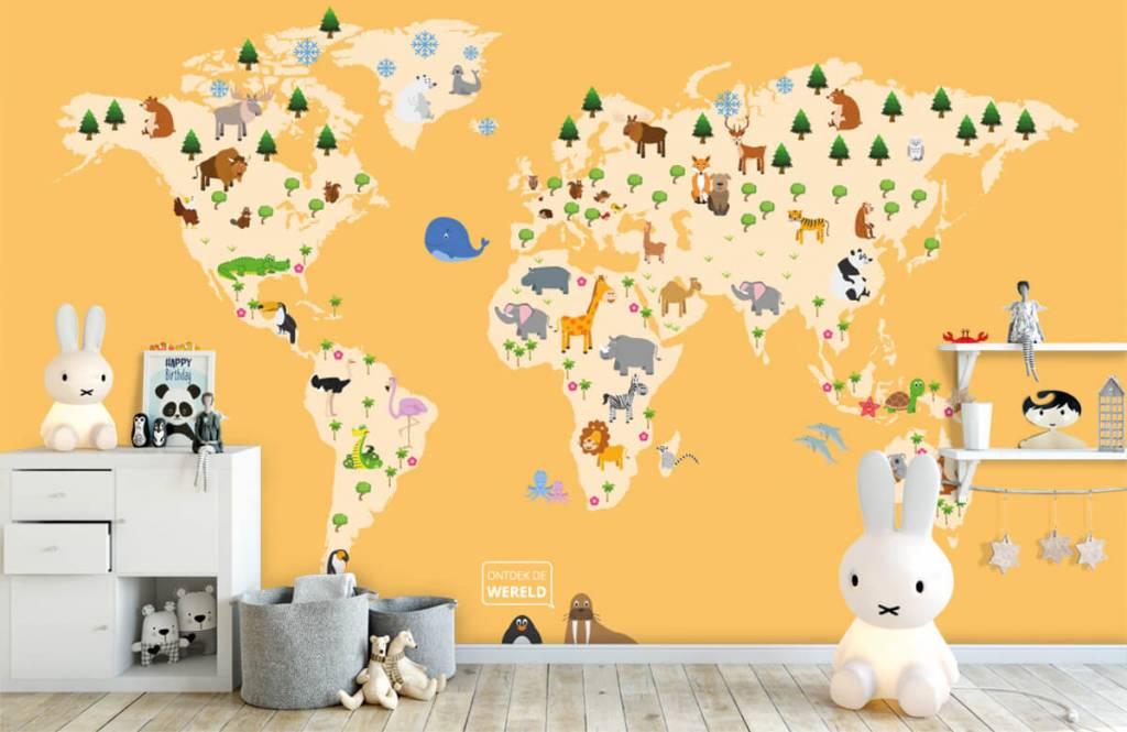 Wereldkaart behang - Wereldkaart voor kinderen met gele achtergrond - Kinderkamer 5