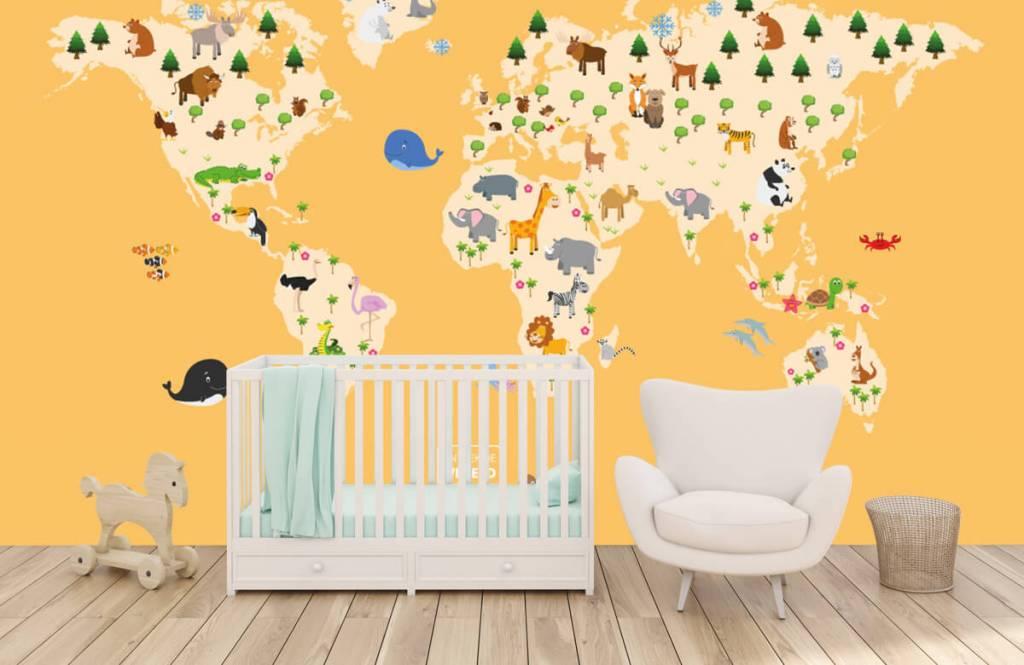 Wereldkaart behang - Wereldkaart voor kinderen met gele achtergrond - Kinderkamer 6