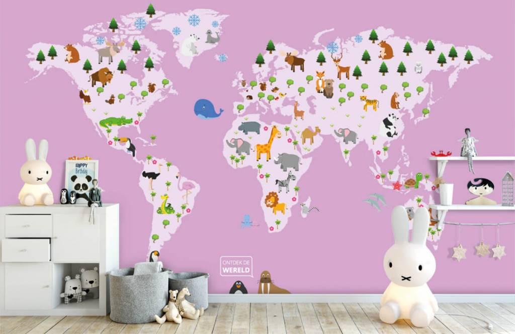 Meisjesbehang - Wereldkaart voor kinderen met roze achtergrond - Kinderkamer 1