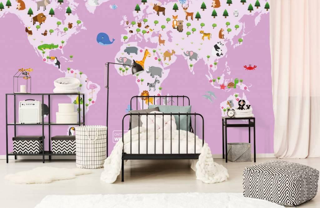 Meisjesbehang - Wereldkaart voor kinderen met roze achtergrond - Kinderkamer 2