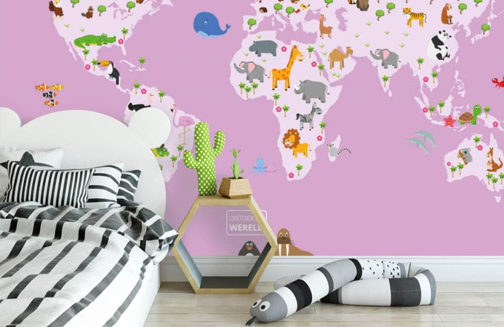 Meisjesbehang - Wereldkaart voor kinderen met roze achtergrond - Kinderkamer 3