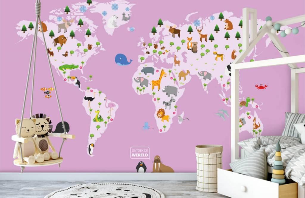 Meisjesbehang - Wereldkaart voor kinderen met roze achtergrond - Kinderkamer 4