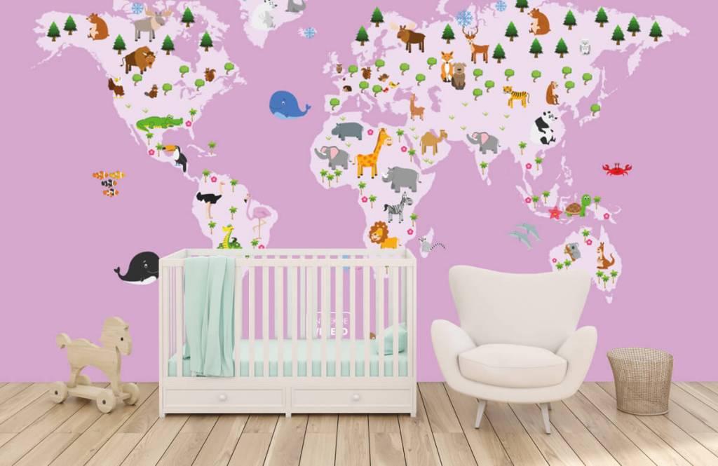Meisjesbehang - Wereldkaart voor kinderen met roze achtergrond - Kinderkamer 5