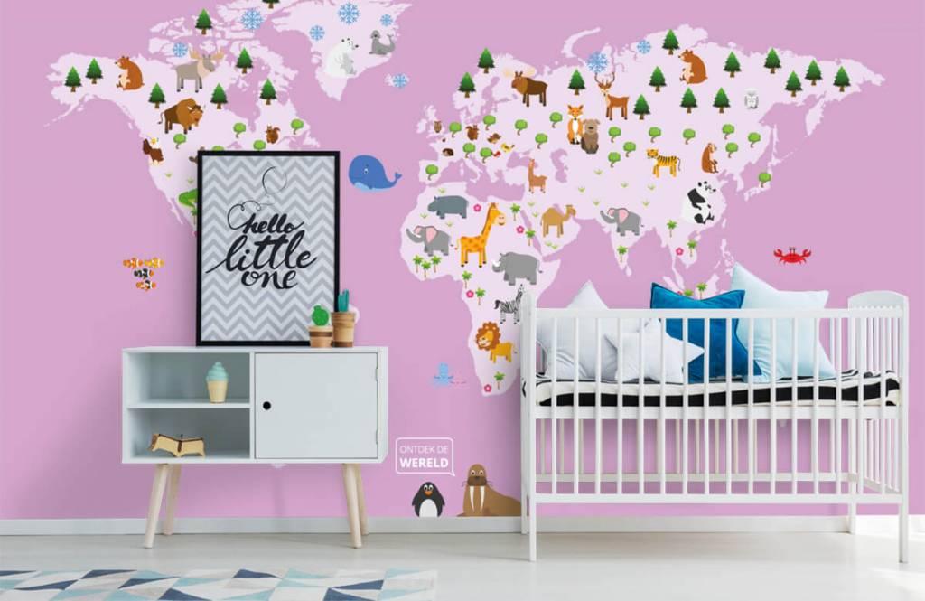 Meisjesbehang - Wereldkaart voor kinderen met roze achtergrond - Kinderkamer 6