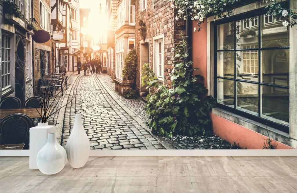 Steden behang - Zonsondergang in een oud straatje - Slaapkamer 1