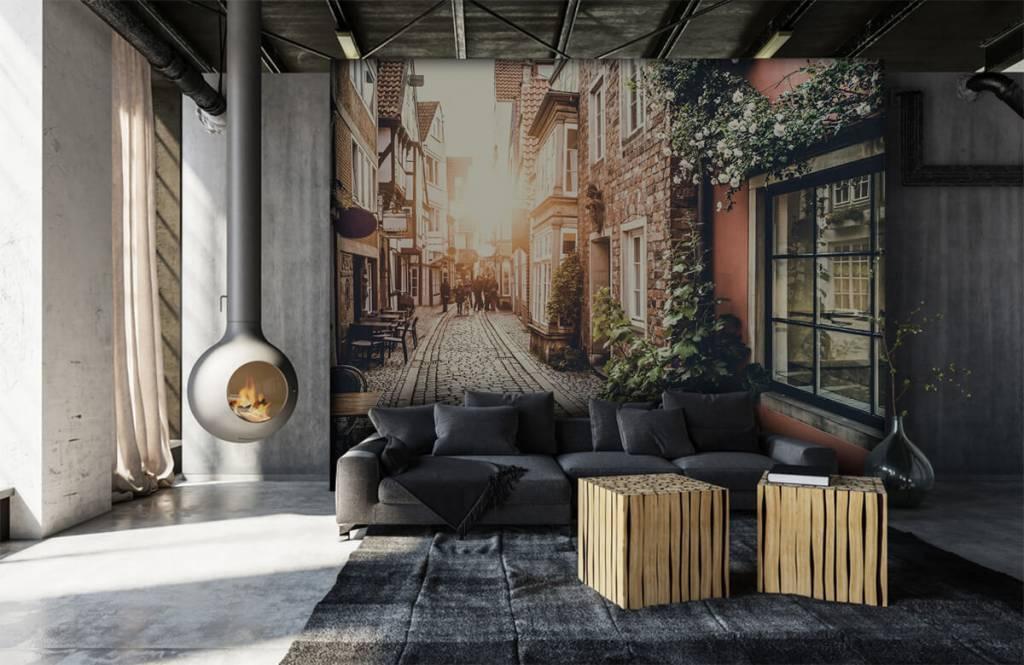 Steden behang - Zonsondergang in een oud straatje - Slaapkamer 3