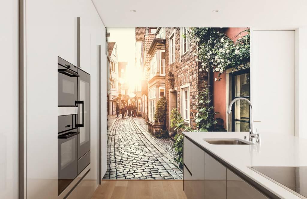Steden behang - Zonsondergang in een oud straatje - Slaapkamer 4