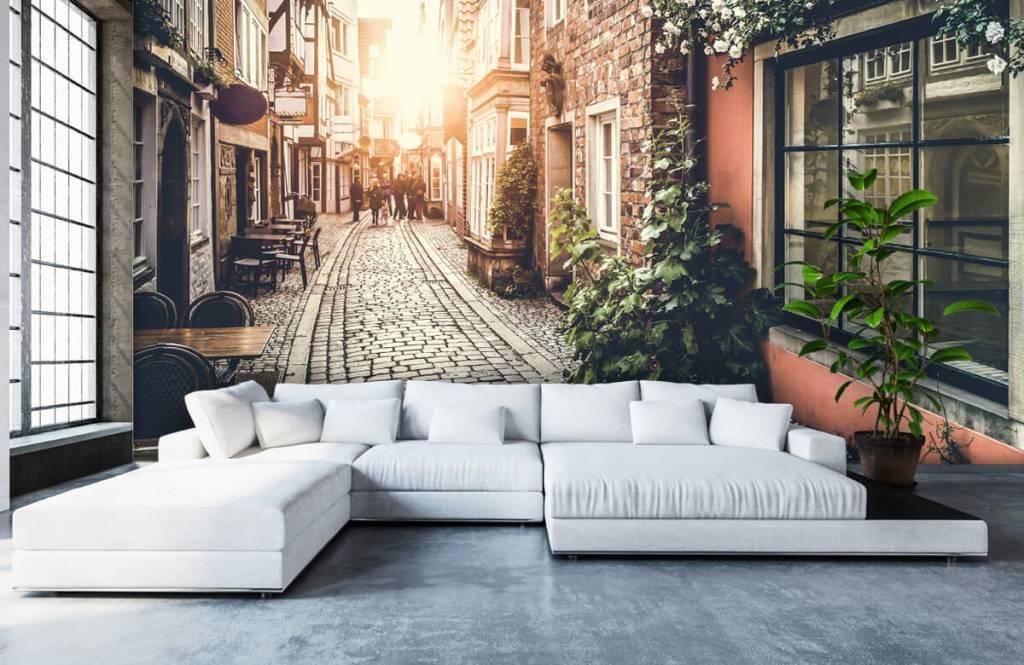 Steden behang - Zonsondergang in een oud straatje - Slaapkamer 6