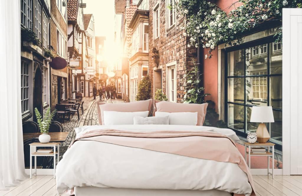 Steden behang - Zonsondergang in een oud straatje - Slaapkamer 7