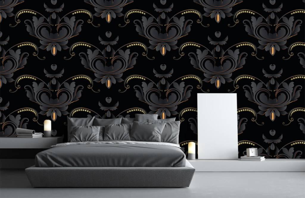 Barok behang - Zwart goud barok patroon - Slaapkamer 1