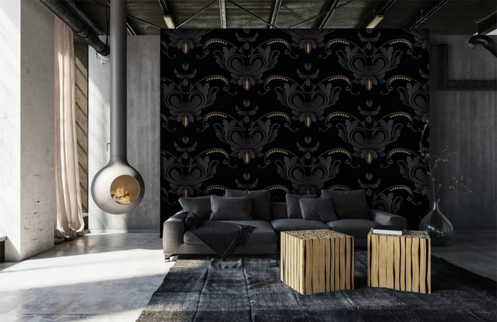Barok behang - Zwart goud barok patroon - Slaapkamer 2