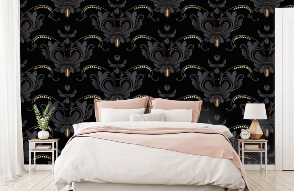 Barok behang - Zwart goud barok patroon - Slaapkamer 3