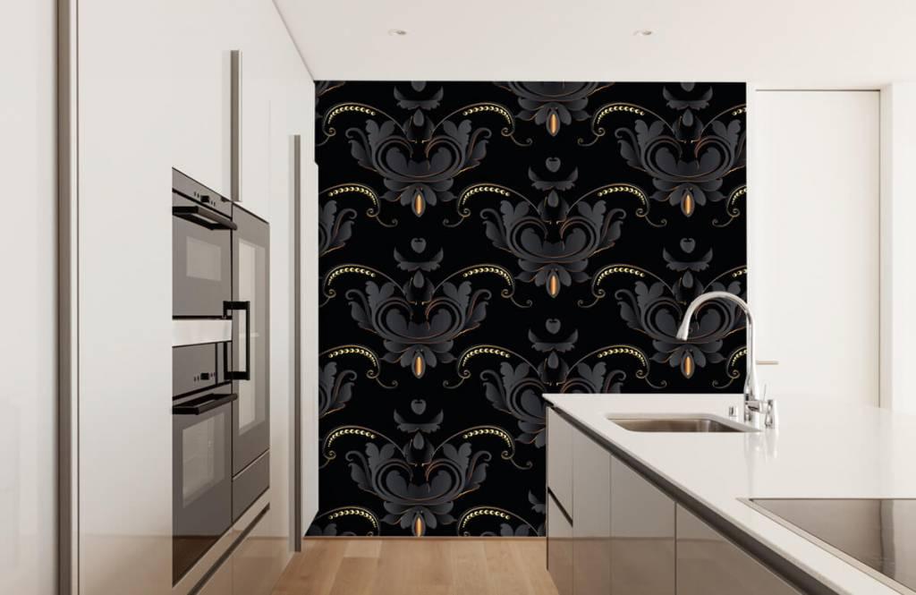 Barok behang - Zwart goud barok patroon - Slaapkamer 4