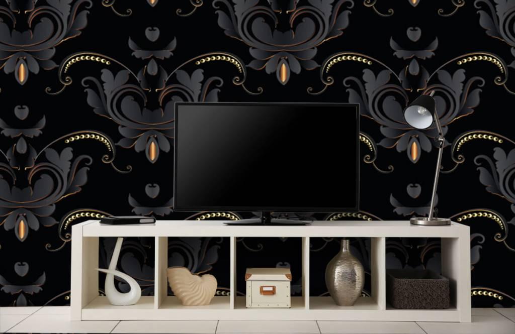 Barok behang - Zwart goud barok patroon - Slaapkamer 5
