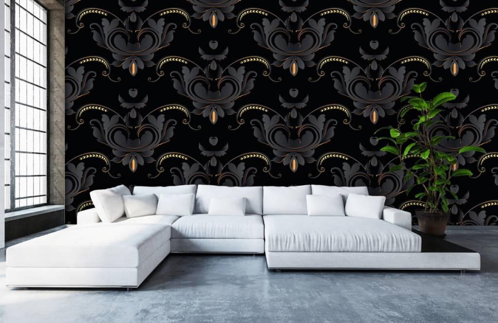 Barok behang - Zwart goud barok patroon - Slaapkamer 6