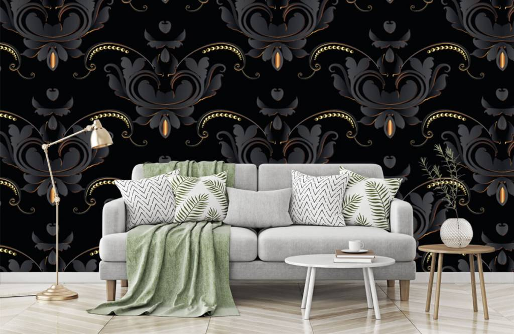 Barok behang - Zwart goud barok patroon - Slaapkamer 7