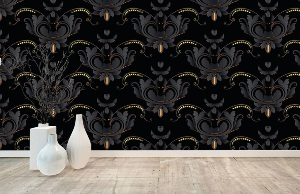 Barok behang - Zwart goud barok patroon - Slaapkamer 8