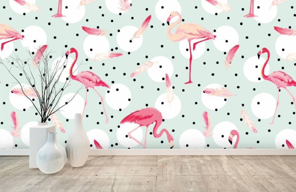 Kinderbehang - Flamingo's en veren - Kinderkamer 1